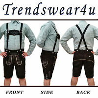 German Bavarian Trachten Oktoberfest Mens Short Length Black Lederhosen Outfit