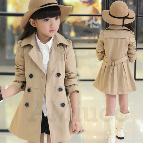Unisex Adult Kid Wind Coat Deluxe Trench Coat Boy Girl Double-Breasted Outerwear