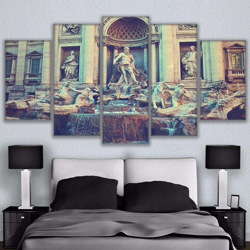 Fontana di Trevi Fountain Rome  5 Panel Canvas Print Wall Art Painting