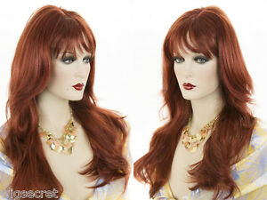 Long-Blonde-Grey-Brunette-Red-Straight-Wavy-Center-Skin-Top-Part-With-Bangs-Wigs