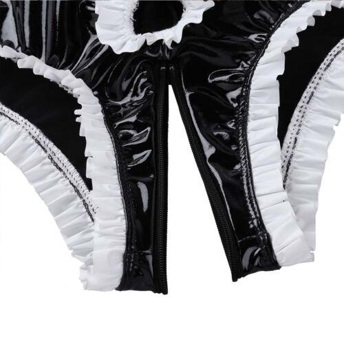 Mens Wetlook Boxer Briefs Ruffled High Cut Zipper Bulge Pouch Panties Underwear