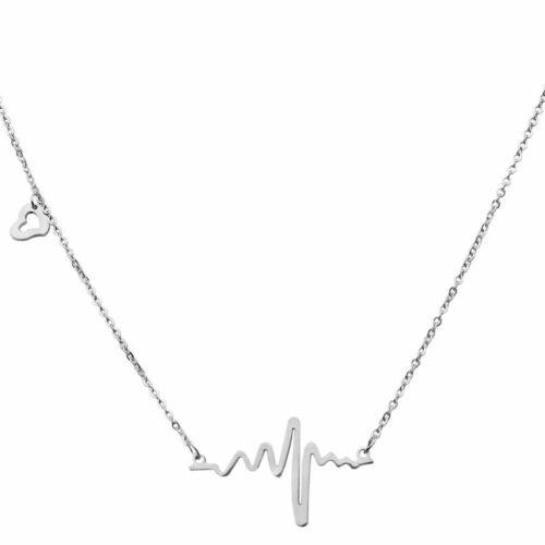 Kette Herzschlag Halskette Frequenz Liebe Anhänger Edelstahl Etui Geschenkbox