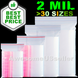 New 100x 2-Mil Zipper Baggies Clear Reclosable lock Zipper Plastic Bags Poly
