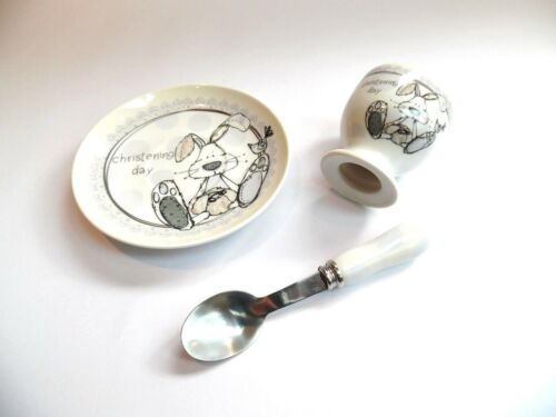 "/""LITTLE MIRACLES/"" GIFT SET Plate,Egg Cup /& Spoon in a BOX BABY//CHRISTENING GIFT"