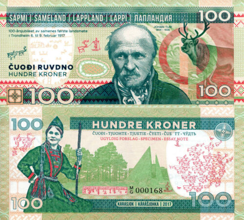 Only 800 Printed 100 Kroner Fun-Fantasy Note 2017 Issue Sami Finland Lapland