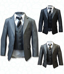 b08aac15e8ad BOYS FORMAL 5 PIECE SUITS PAGE BOY PROM WEDDING SUIT IN GREY, BROWN ...