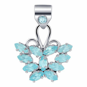 925-Sterling-Silver-Genuine-Blue-Topaz-Bali-Design-Butterfly-Pendant-CP091