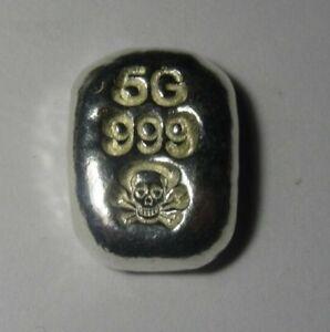 5 Gram Atlantis Skull and Crossbones Hand Poured Silver Bar NEW