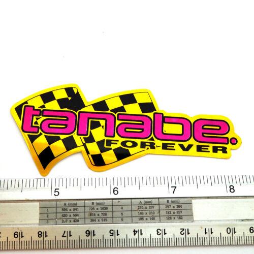 "Tanabe Racing Flag Reflective Light Car Sticker Decal 1.75x4/"" Yellow/&Pink"