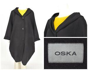 Womens-OSKA-Oversized-Comfort-Coat-Jacket-Black-Lagenlook-Wool-Size-2-UK16
