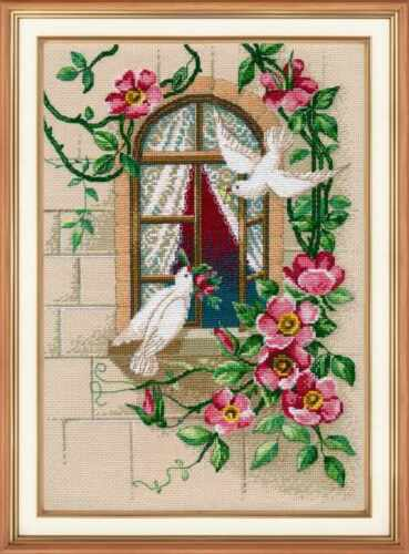 Counted Cross Stitch Embroidery Kit Birds Floral White Pigeons Oven