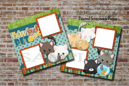 Purr-fect Pet Cat Kitten 2 PRINTED Premade Scrapbook Pages BLJgraves 14