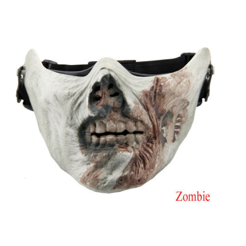 Halloween Cosplay Costume Ghost Skeleton Skull Half Face Mask Hunting Airsoft US