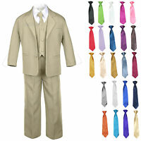 Kid Teen Formal Wedding Prom Tuxedo Boy Suit Khaki + Tie 6pc Set 14 Color 5-20