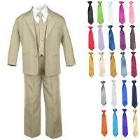Kid Teen Formal Wedding Prom Tuxedo Boy Suit Khaki + Tie 6pc Set 14 Color 5-20