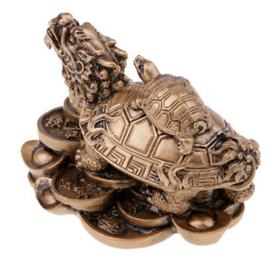 Wealth Prosperity Dragon Tortoise Statue Home Decor Office Ornaments -Bronze