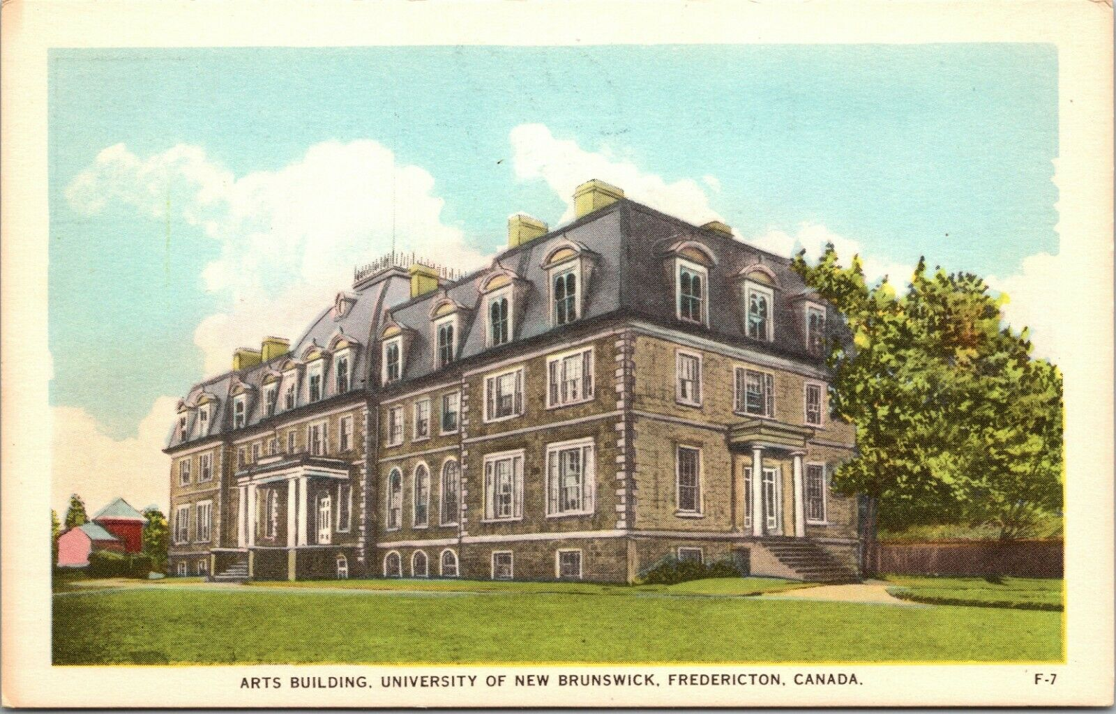 ARTS BUILDING FREDERICTON, UNIVERSITY NEW BRUNSWICK, CANADA LINEN POSTCARD