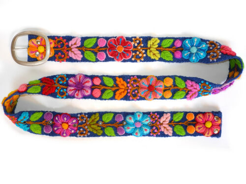 Main Brodé Ceinture Floral Coloré Peruvian Belt Handmade Boho Ceinture ethno