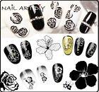 Nail Art Water Transfer Stickers-BIANCO-NERO-Adesivi per Ricostruzione Unghie!!!