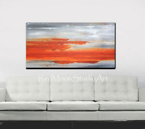 48x24-Abstract-Art-Painting-Orange-and-Gray-US-Artist