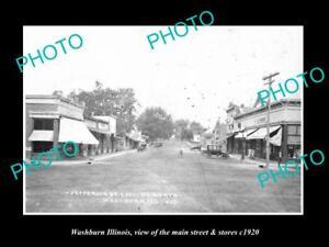 OLD-LARGE-HISTORIC-PHOTO-OF-WASHBURN-ILLINOIS-THE-MAIN-STREET-amp-STORES-c1920-2