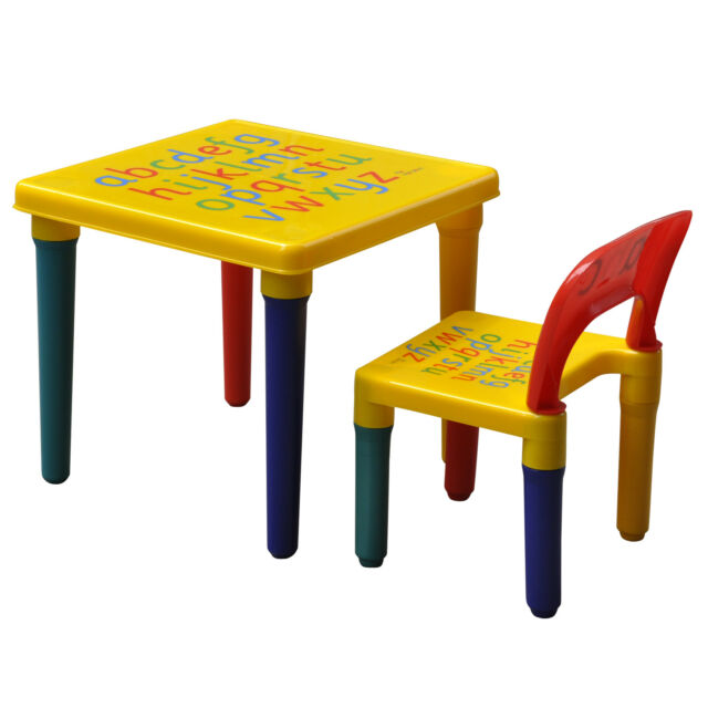 Abc Alphabet Childrens Plastic Table And Chair Set Kids Toddlers Childs Gift