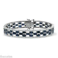 Platinum Over Sterling Silver Midnight Blue Sapphire Diamond Accent Bracelet