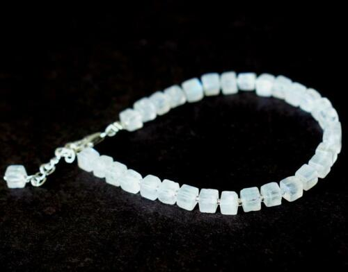 """7-8/"""" BRACELET NATURAL RAINBOW MOONSTONE BEADS BOX SOLID 925 SILVER #D18822"""