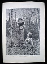 IVY GATHERING FOR BALL DRESSES CHILDREN IN FOREST VICTORIAN GENRE PRINT 1890