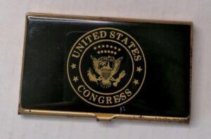 Vintage United States Congress Business Card Case Holder Brass