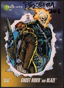Ghost Rider Mark Texeira Firmado Con Arte Original Tarjeta De Dibujo