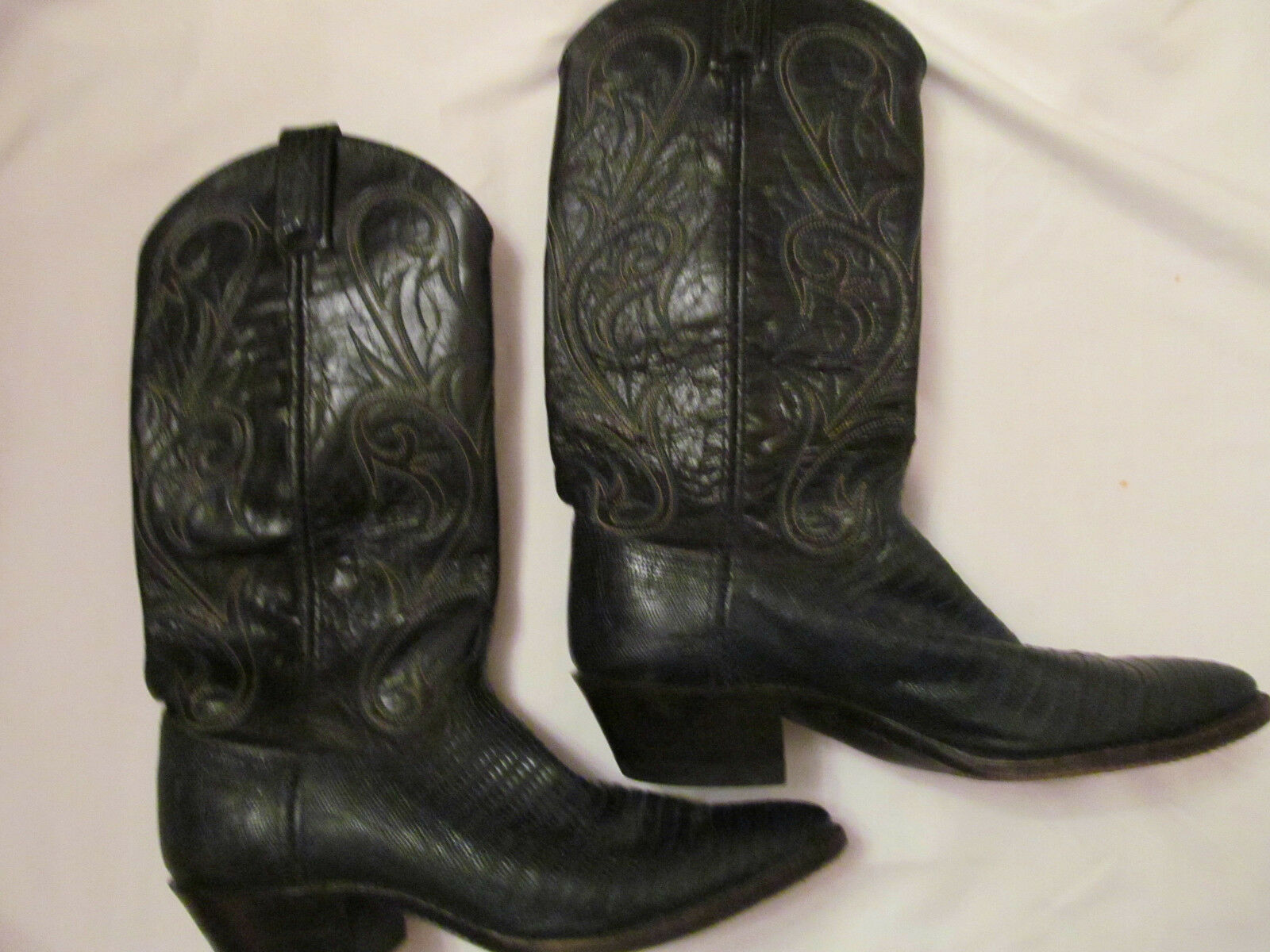 DAN POST cowboy dark green and black lizard embroidred leather cowboy POST cowgirl boots 6.5 e225a2