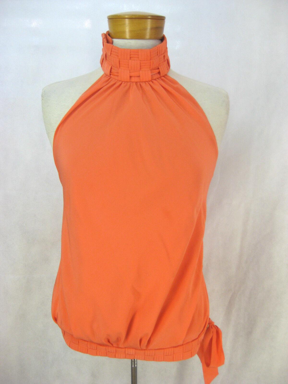 Rohmir Größe 8, 10, 38  designer coral colourot silk top with woven neckline