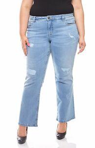 Details zu sheego Hose Damen Stretch Jeans Used Look Langgröße Große Größen Trend Hose Blau