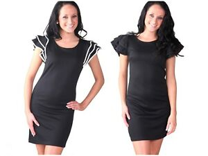 5c0dc4d01665c Image is loading Womens-Black-Ruffle-Shoulder-Party-Office-Dress-Smart-