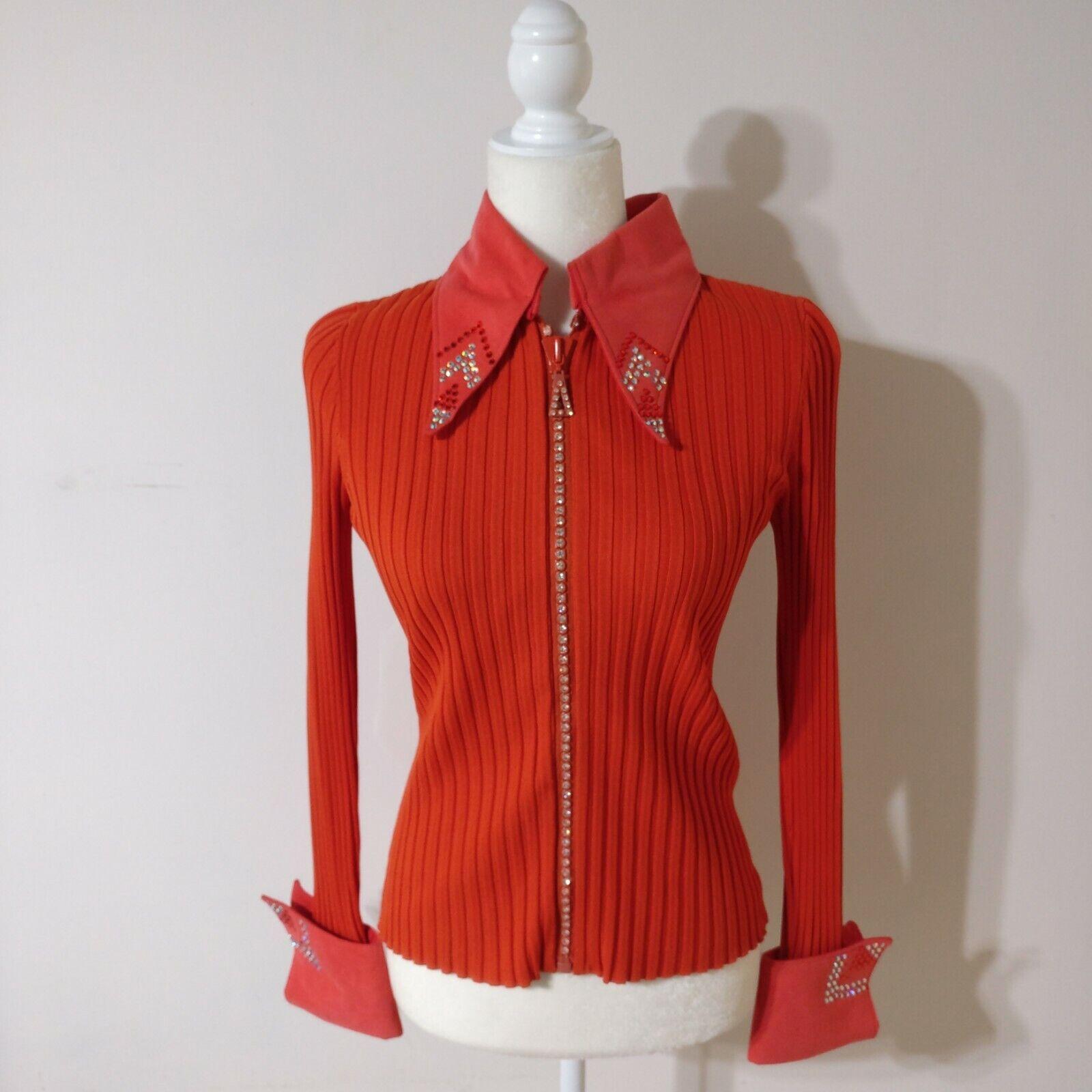 Western Pleasure Rail mostrare Shirt Jacket Med arancia Sweater Crystal Embellished