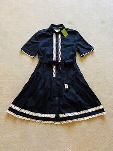 NWT-258-KATE-SPADE-Broome-Street-Lace-Inset-Shirt-Dress-XS-Black-Lolita-Boho