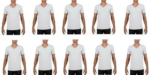 5,10,12 Pack Gildan Mens Cotton V Neck T Shirt Short Sleeve White Lot Bulk Top