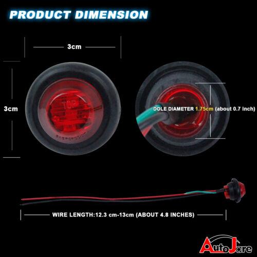 """Amber 3//4/"""" 3 LED Side Marker Light Clearance Lamp 12V Round Deck Lights Pickup"""