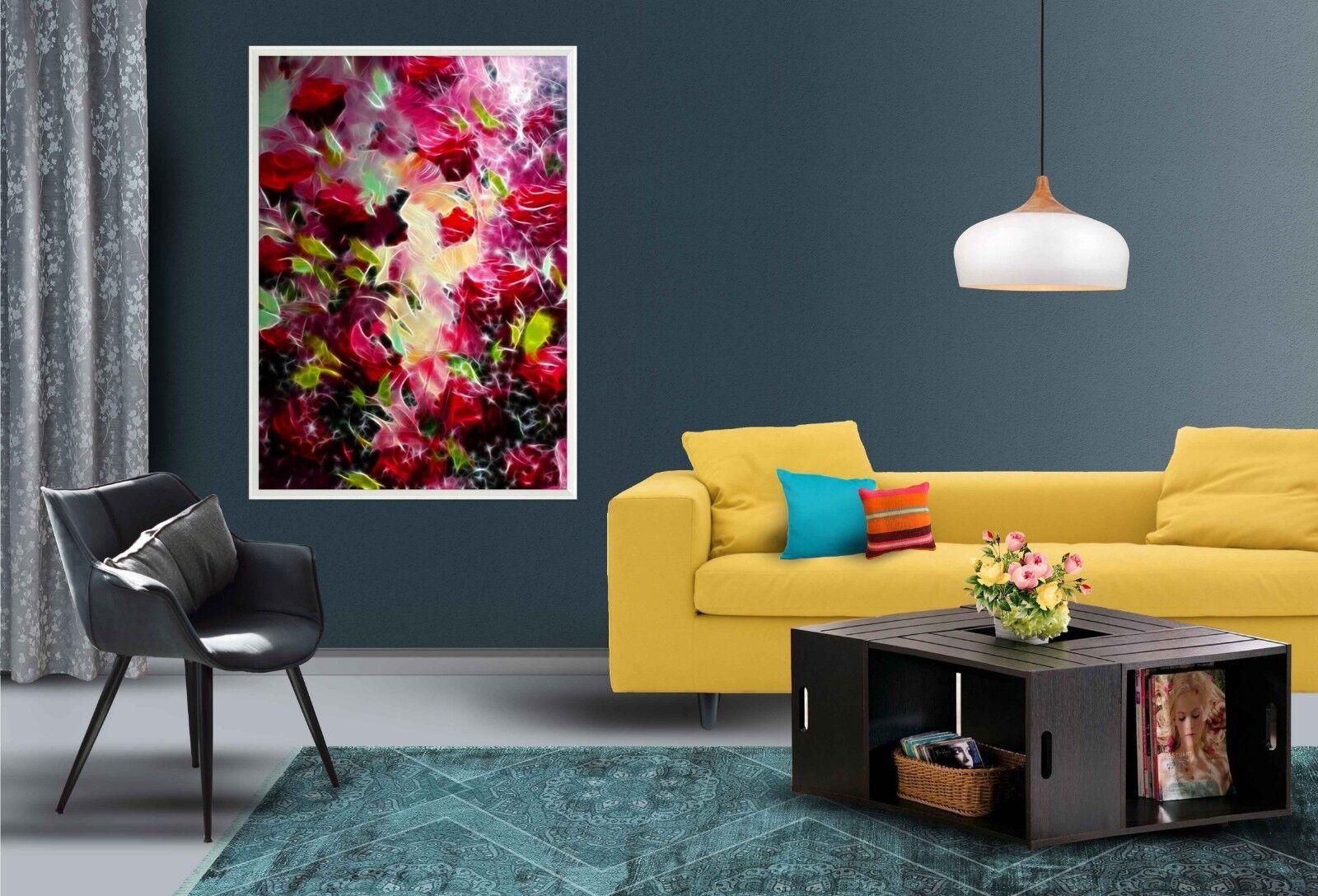 Cartel enmarcado 3D 323 Floral Abstracto Decoración del Hogar Pintura de Impresión Arte AJ Wallpaper