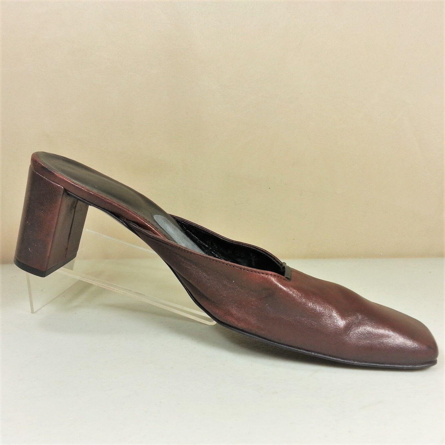 solo per te ROBERT CLERGERIE donna Burgundy Burgundy Burgundy Leather Chunky Heel Mules scarpe Dimensione 8.5B France  garanzia di credito