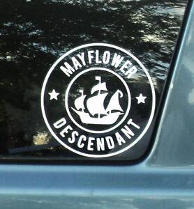 Mayflower Descendant Car Pilgrim Decal Large Size Free