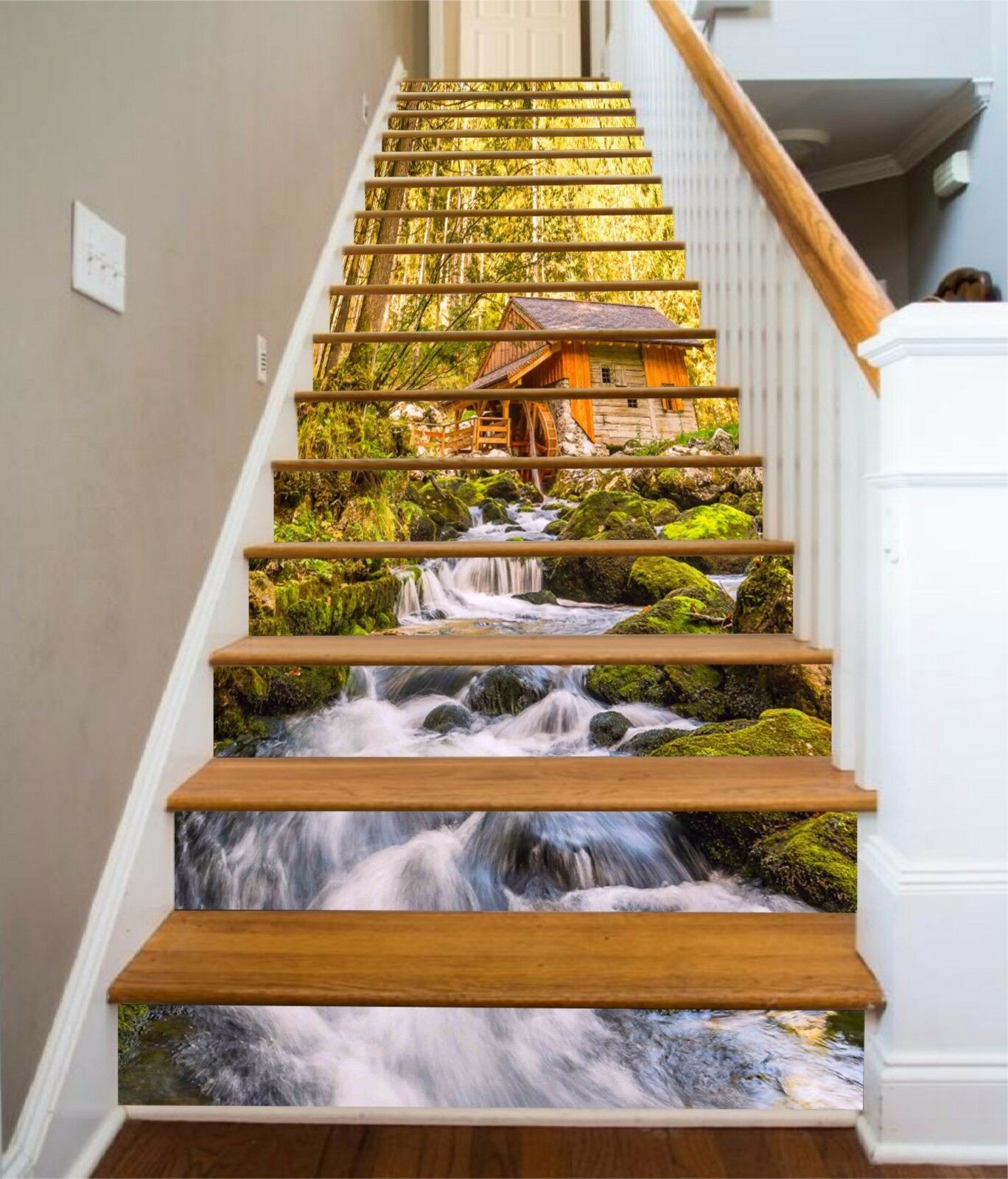 3D Forest stream 37 Stair Risers Decoration Photo Mural Vinyl Decal Wallpaper UK
