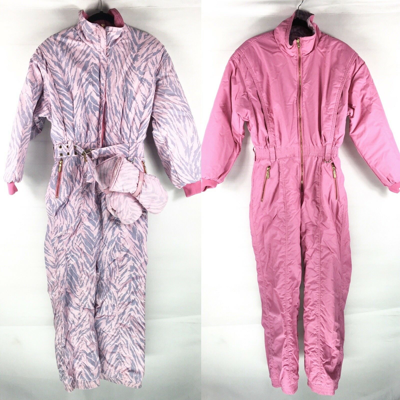 Vintage 80s KAELIN  Womens Ski Bib Snowsuit Sz 10 Pink Print One Piece Reversible  fast shipping and best service