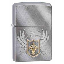Zippo Windproof Diagonal Weave Chrome Lighter, Fleur De Lis, # 28852, New In Box