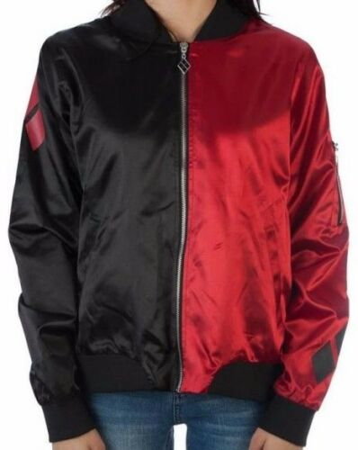 """OFFICIALLY LICENSED DC COMICS /""""HARLEY QUINN/"""" CLASSIC SATIN BOMBER JACKET NEW!"""