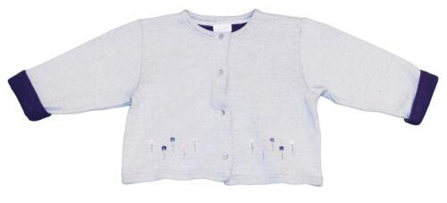 JACADI Girls Aube Two-Tone Blue Flower Embellished Cardigan Sz 6 Months NWT $40