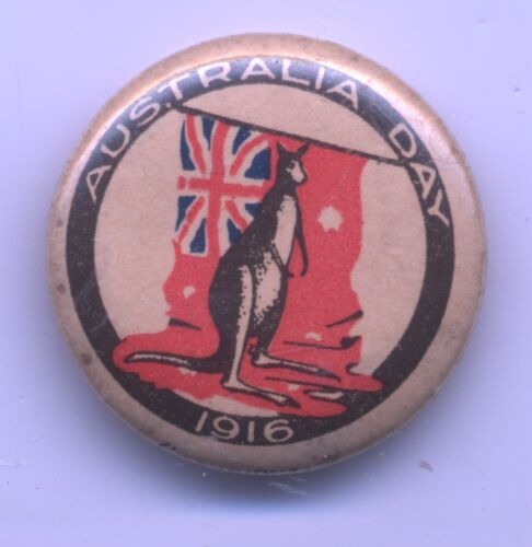 1916 Patriotic AUSTRALIA DAY Flag & Kangaroo PINBACK BUTTON
