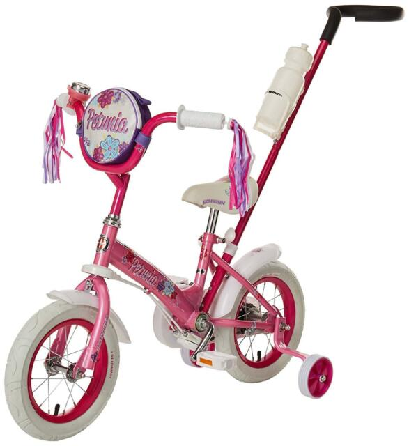 Schwinn Girls' Petunia 12-inch Steerable Bike Pink/white