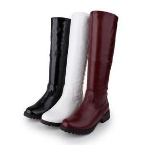 Fashion-Femme-Lady-Dos-Fermeture-Eclair-Talon-bottier-Plat-Equitation-Bottes-Hautes-Chaussures